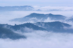 Härliga berg för misthav överst Royaltyfria Bilder