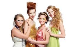 härliga fyra flickor Fotografering för Bildbyråer