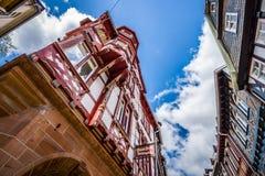 Härliga gator av gamla Marburg Fotografering för Bildbyråer