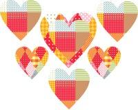 Härliga patchworkhjärtor Gullig vektorillustration Royaltyfri Fotografi
