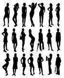 härliga silhouetteskvinnor Fotografering för Bildbyråer