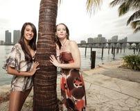 härliga två kvinnor Arkivfoto