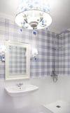 Härligt blått- och vitbadrum med duschen Arkivfoton