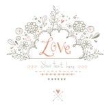 Härligt förälskelsekort i tappningstil En vektorillustration Vykort för valentindagkort Royaltyfri Bild