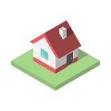 Härligt litet isometriskt hus Arkivbild