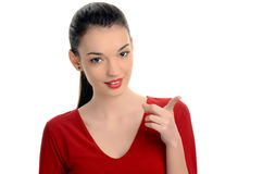 Härligt peka för flicka. Arkivfoto