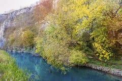 Härligt pittoreskt höstlandskap av floden i berget Arkivfoton