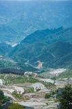 Härligt terrasserat fältlandskap i vår Arkivfoton