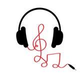 Hörlurar med G-klav, noterar röd kabel och uttrycker musik Kort Plan design Vit bakgrund Royaltyfri Foto