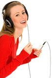 hörlurarkvinna Arkivbild
