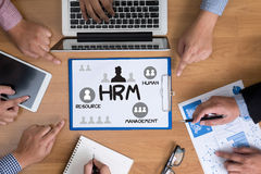 HRM Human Resource Management  Strategy Planning Working HRM man Stock Photos