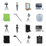 Hromakey, script and other equipment. Making movies set collection icons in black,cartoon style vector symbol stock. Illustration Royalty Free Stock Image