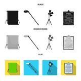 Hromakey, script and other equipment. Making movies set collection icons in black, flat, monochrome style vector symbol. Stock illustration Stock Photo