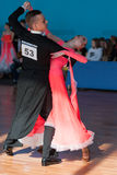 Hromov Artem en Vereshako Anna Perform jeugd-2 Standaardprogramma Stock Foto's