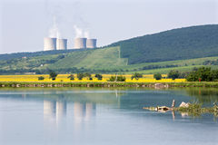 Hron river and nuclear power plant Mochovce Royalty Free Stock Image