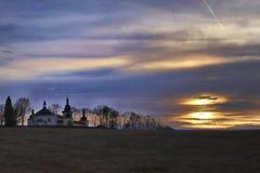 Hroznatov Tchèque de coucher du soleil de Maria Loreto Castle Images stock
