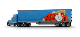 48 hrs delivery, truck. Trailer truck with a sign advertising a 48 hrs delivery delay Stock Image