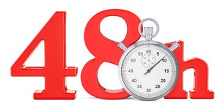 48 hrs. fast delivery concept, 3D rendering. Isolated on white background Royalty Free Stock Image