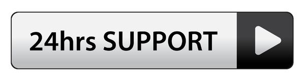 24 hrs support button. 24hrs support web button on computer generated web button icon on pure white background Stock Images