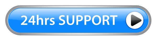24 hrs support button. 24hrs support web button on computer generated web button icon on pure white background Royalty Free Stock Photo