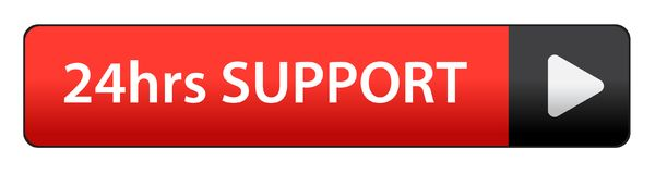 24 hrs support button. 24hrs support web button on computer generated web button icon on pure white background Stock Image