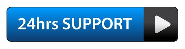 24 hrs support button. 24hrs support web button on computer generated web button icon on pure white background Royalty Free Stock Photos