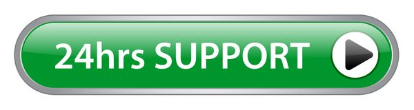 24 hrs support button. 24hrs support web button on computer generated web button icon on pure white background Royalty Free Stock Photography