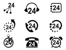 24-hrs usługa ikony Obrazy Royalty Free