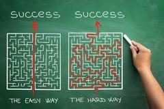 Hårt och lätt sätt som illustreras som visas av labyrint Arkivbilder