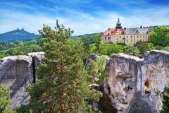 Hruba Skala slott, bohemisk paradisregion, Tjeckien Arkivbilder