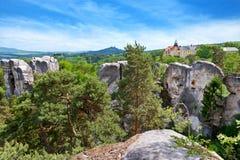 Hruba Skala slott, bohemisk paradisregion, Tjeckien Arkivfoton