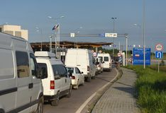 Hrushiv, Ukraine - May 31, 2017: Hrushiv-Budomezh checkpoint on. The border with Ukraine and Poland some 60kms from city of Lviv Stock Photo