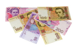 Hryvnia in assortment. On a white background Stock Images