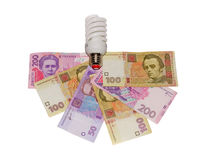 Hryvnia and the lamp. On a white background isolated Stock Photos
