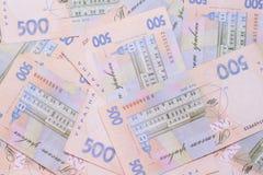 Hryvnia UAH Ukrainian banknotes. 500 Ukraine national financies background stock images