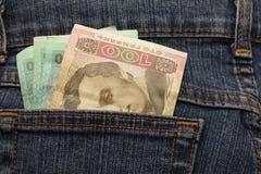 Hryvnia ucraino di denominazioni in tasca dei jeans Fotografie Stock