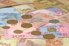 Hryvnia ucraniano del dinero. Antecedentes. Imágenes de archivo libres de regalías