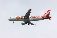 HS-ABE Airbus A320-200 de Thaiairasia Pintura do Asean dos aviões Fotografia de Stock Royalty Free
