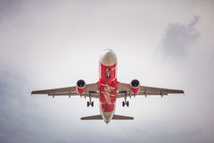 HS-ABV Airbus A320-200 of Air Asia landing to Don Mueang International Airport royalty free stock image