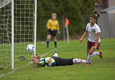 HS Girls Soccer goal Royalty Free Stock Images