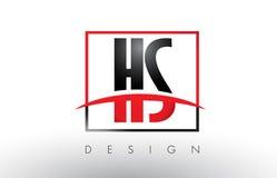 HS H S Logo Letters com cores e Swoosh vermelhos e pretos ilustração royalty free