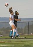 HS Soccer Jump ball Stock Photo