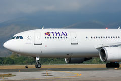 HS-TAT  Airbus A300-600 of Thaiairway Taxi on Chiangmai airport Royalty Free Stock Photos