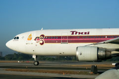 HS-TAZ  Airbus A300-600 of Thaiairway Taxi on Chiangmai airport Royalty Free Stock Photo