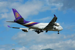 HS-TGH of Boeing 747-400 Thaiairway. Photo from chiangmai airport Royalty Free Stock Photo