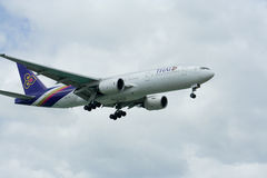 HS-TJF of Boeing 777-200 Thaiairway. HS-TJF of Boeing 777-200, Photo from chiangmai airport Stock Photography