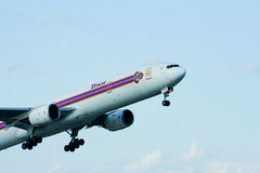 HS-TKB of Boeing 777-300 Thaiairway. Photo from chiangmai airport Royalty Free Stock Photo