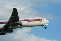 HS-TKB of Boeing 777-300 Thaiairway. Photo from chiangmai airport Stock Photography