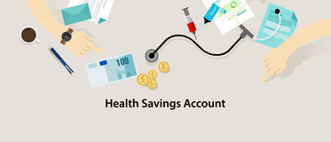 HSA Health Savings Account. Vector insurance medicare stock illustration
