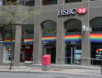 HSBC Pride, Toronto. HSBC Bank supports its customers and employees from the LGBT community. The Bank sponsors  a range of Pride events in Toronto and around the royalty free stock image